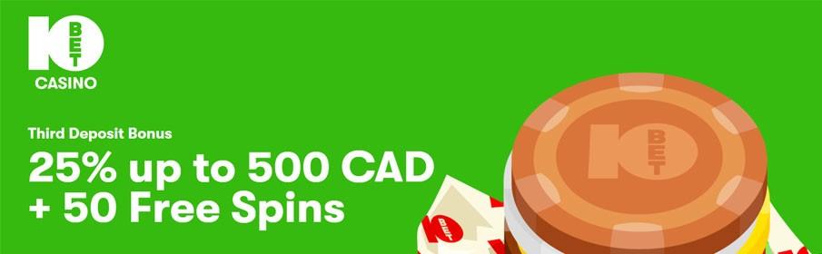 10Bet Casino 25% Third Deposit Bonus