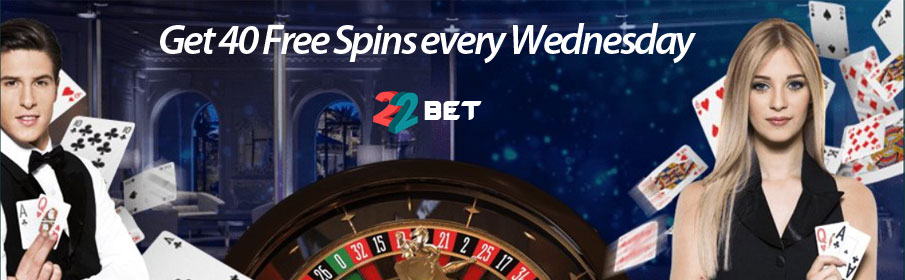 Get 40 Free Spins every Wednesday at 22Bet Casino