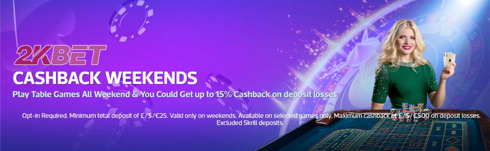 2KBet Casino Weekend Cashback Bonus