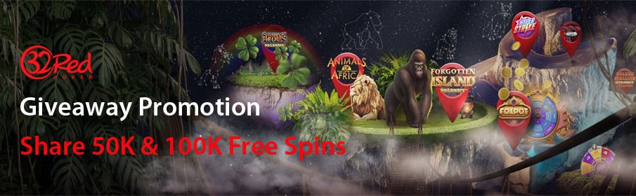 32Red Casino 50K & 100K Free Spin Giveaways