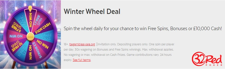 32Red Casino Winter Wheel Deal £10,000 Cash Prize & Free Spins