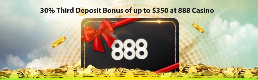 Third Deposit Bonus of up to $350 at 888 Casino
