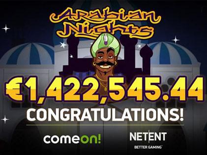 Arabian Night Jackpot worth 1.4M drops on a Swedish Player while Playing at A NetEnt Casino