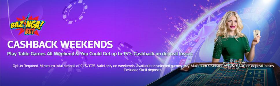 Bazingabet Casino Weekend Cashback Bonus