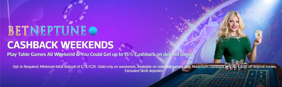 BetNeptune Casino Weekend Cashback Bonus