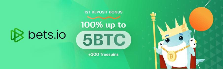 Bets.io Casino 100 % First Deposit Bonus