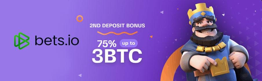 Bets.io Casino 75% Second Deposit Bonus
