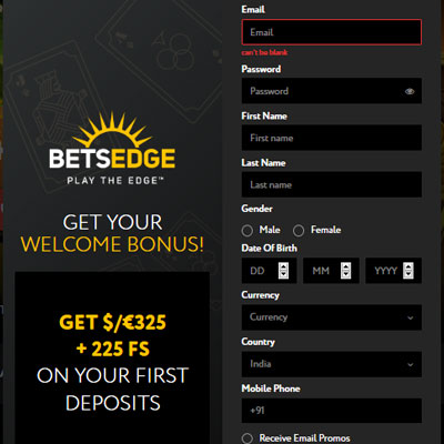 Betsedge Casino Sign Up
