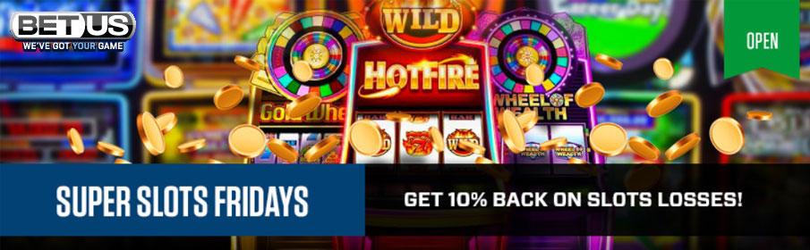 BetUS Casino 10% Cashback Bonus on Slots Losses