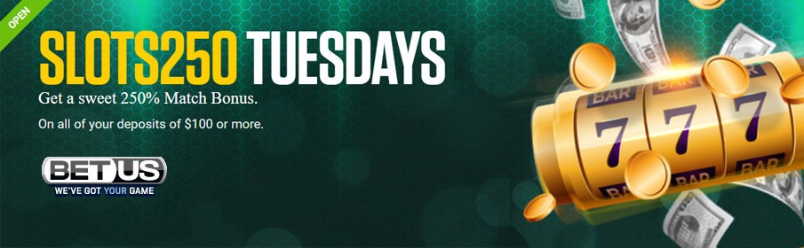 BetUS Casino 250% Tuesday Match Bonus up to $2500