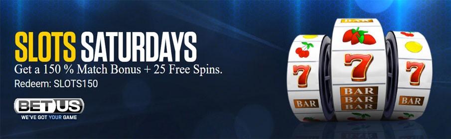 BetUS Casino 150% Match Bonus & 25 Free Spins Saturday Offer