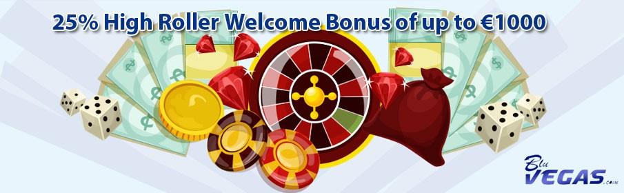 BluVegas Casino 25% High Roller Bonus