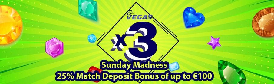 BluVegas Casino 25% Sunday Reload Bonus