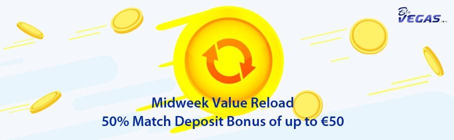 BluVegas Casino 50% Wednesday Reload Bonus