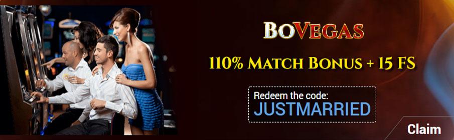 BoVegas Casino 110% Match Bonus & 15 Free Spins