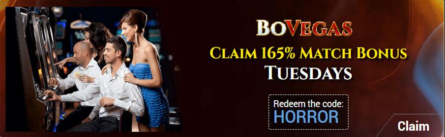 BoVegas Casino 165% Tuesday Match Bonus