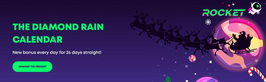 The Diamond Rain Calendar Christmas Promotion at Casino Rocket