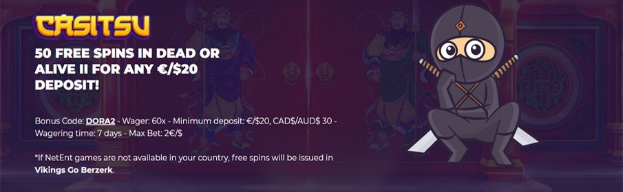 claim 50 Free Spins in Dead or Alive II at Casitsu Casino