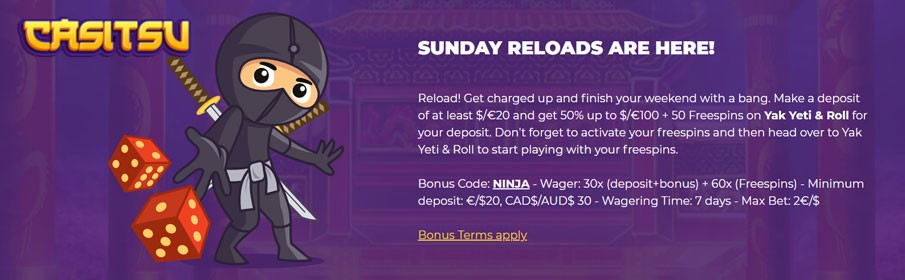 Claim the Sunday Reloads Bonus at Casitsu Casino