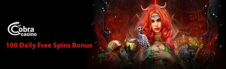 Cobra Casino 100 Daily Free Spins Bonus