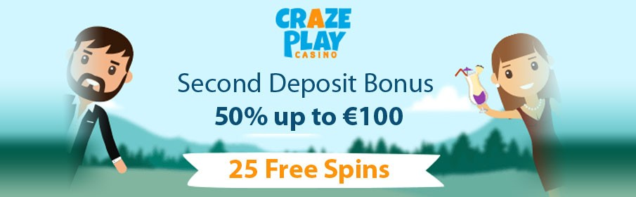 50% Second Deposit Bonus can fetch up to €100
