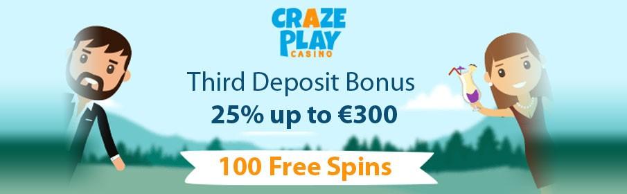 Crazeplay Casino 25% Third Deposit Bonus