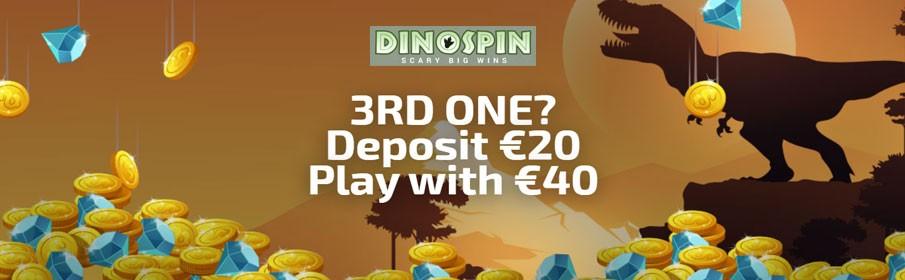 Dinospin Casino 200% Third Deposit Bonus