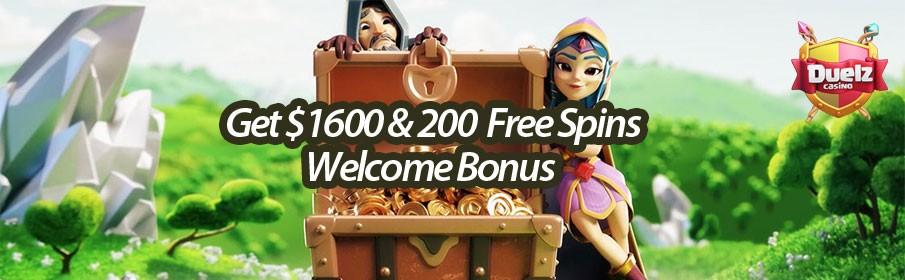 Get $1600 & 200 Welcome Bonus at Duelz Casino