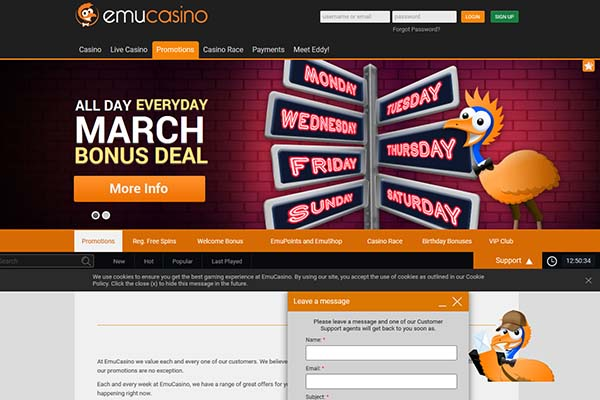 Emu Casino Home Page