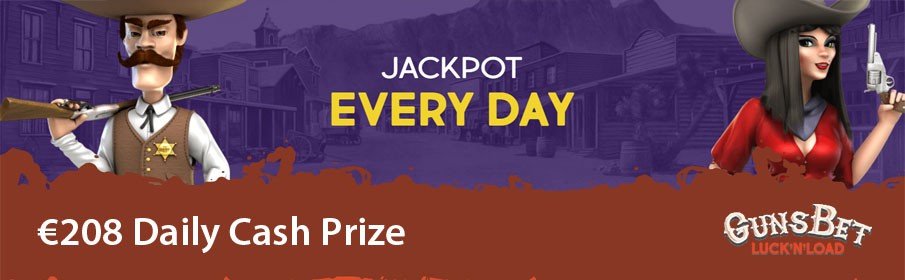 GunsBet Casino €208 Daily Jackpot Cash Prize Bonus
