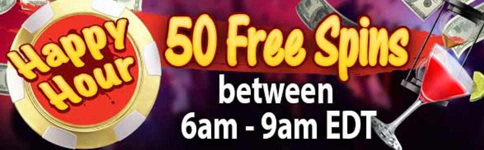 Black Lotus Casino Happy Hour Bonus Get 50 Free Spins