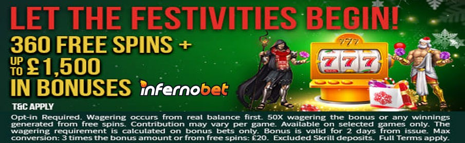 Win up to $1500 Match Bonus & 360 Free Spins everyday in December!