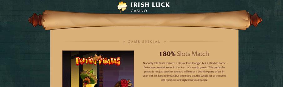 Irish Luck Casino Games Bonus – Get 180% Match Offer