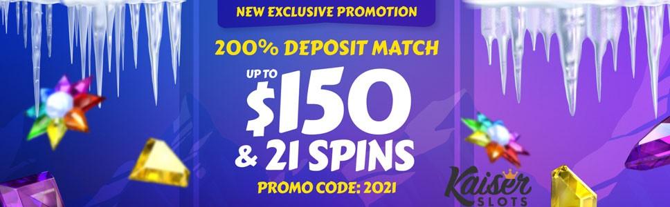 Kaiser Slots Casino Exclusive Match Deposit Bonus