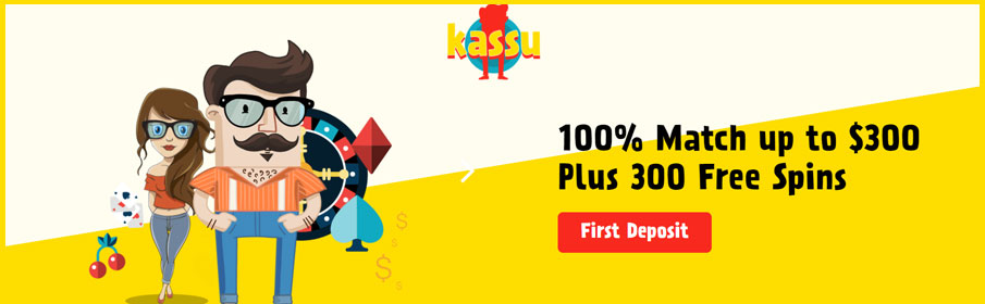 Kassu Casino 100% Match Bonus up to $300 & 300 Free Spins