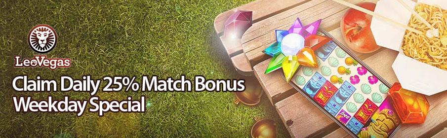 Leo Vegas Casino 25% Match Bonus on Live Casino Games