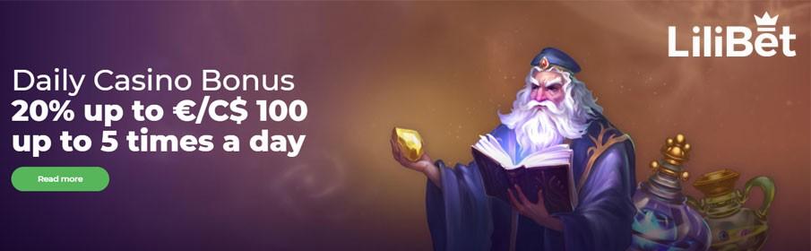 LiliBet Casino 20% Daily Match Bonus up to €/$100