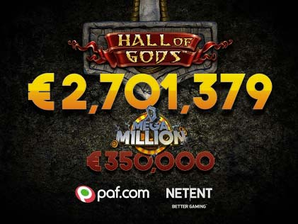 A €2 Spin on Hall of Gods Slot Delivers the Third Consecutive Jackpot for NetEnt Games