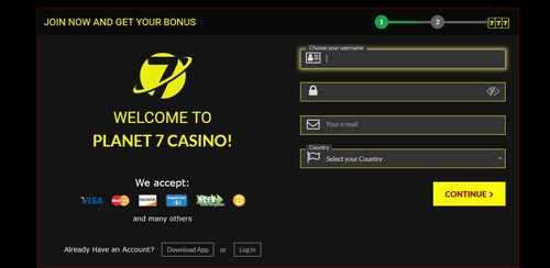 Planet 7 Casino Sign Up