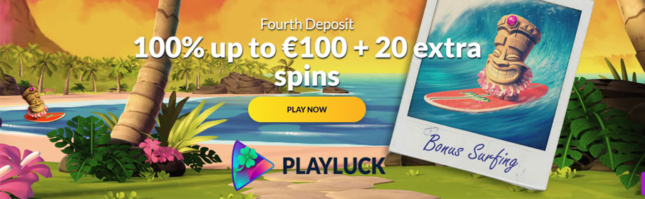 Playluck Casino 100% Match Bonus & Free Spins on Fourth Deposit