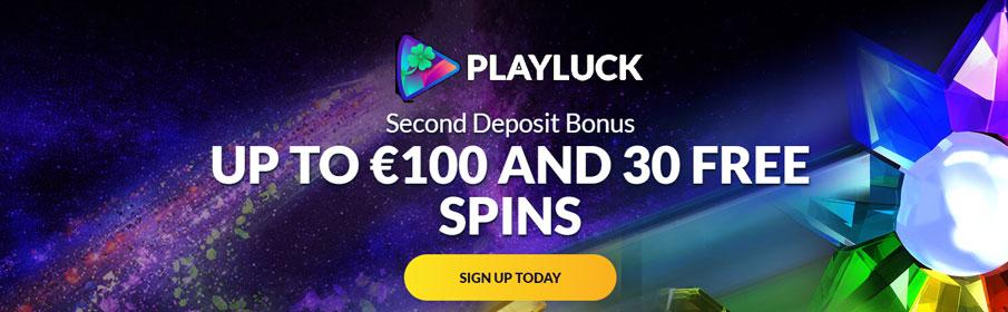 Playluck Casino 50% Match Bonus & Free Spins on Second Deposit