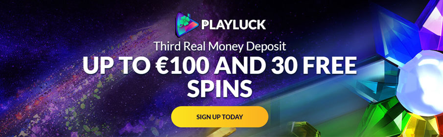 Playluck Casino 50% Match Bonus & Free Spins on Third Deposit