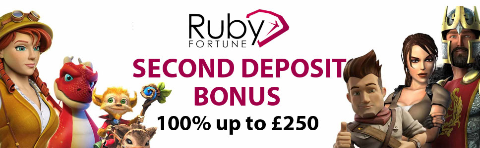 Ruby Fortune Casino 100% up to £250 as Second Deposit Bonus