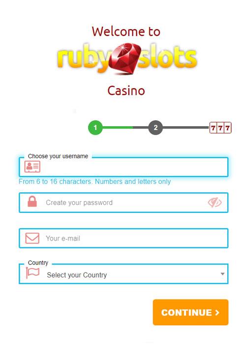 Ruby SlotsCasino Sign Up