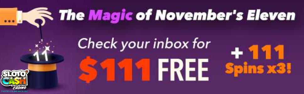 SLoto Cash November Eleven Bonus