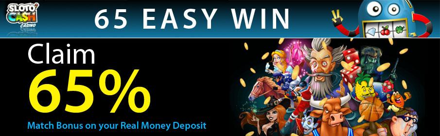 SlotoCash Casino 65% Match Bonus