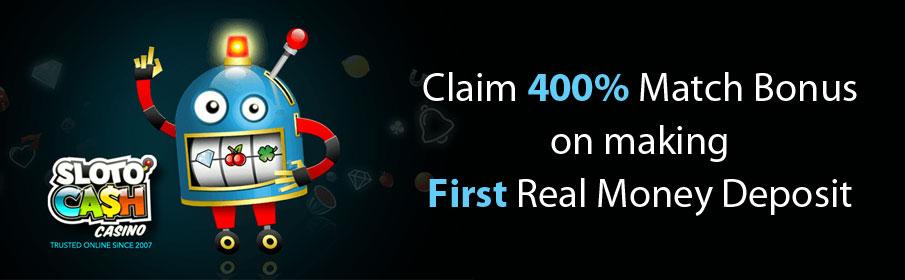 SlotoCash Casino First Deposit Bonus - Get 400% Match Offer