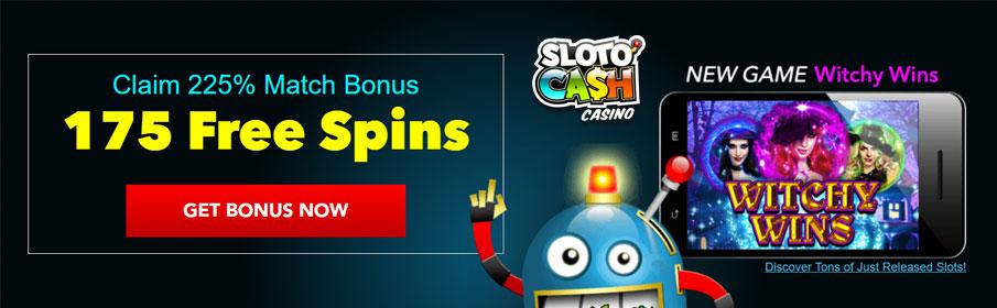 SlotoCash Casino 225% Match Bonus & 175 Free Spins