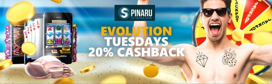 Spinaru Casino 20% Cashback Bonus every Tuesday