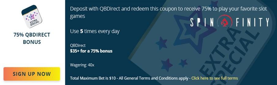Claim 75% Match Bonus at Spinfinity Casino